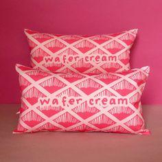 Nikki McWilliams Pink Wafer Biscuit Printed Cushion