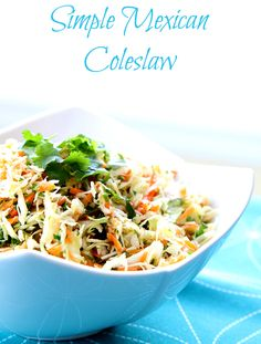 Healthy, fresh and really simple to make, this Mexican Coleslaw is one of my favorite go-to quick salads! You can adjust the dressing to suit your tastebuds easily as well! from @kitchenmagpie Cabbage Recipes, Mexican Food Recipes, Ethnic Recipes, Mexican Dishes, Mexican Meals, Supper Recipes, Easy Appetizer Recipes, Appetizers, Mexican Slaw
