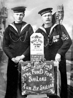 Sailors Who Collected for the Prisoner of War Bread Fund - 1917  Ship's cat on shoulder