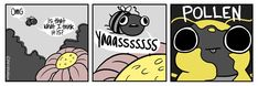 """To help get over my fear of bees, I started drawing """"Derpy Bee"""". It helps to imagine all bees acting this cute! Animal Memes, Nerdy, Peanuts Comics, Bee, Deviantart, Humor, Drawings, Funny, Animals"""