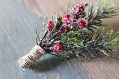 Wedding Boutonniere Holiday Groom Rustic Pine and Berry by deLoop, $19.00 Women, Men and Kids Outfit Ideas on our website at 7ootd.com #ootd #7ootd