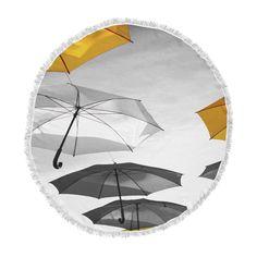 """888 Design """"Umbrellas"""" Orange Black Round Beach Towel"""