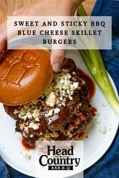 Our Sweet & Sticky Skillet Blue Cheese Burgers is bursting with big, bold flavors. Fry it up in your favorite cast-iron skillet, then top with with your favorite blue cheese, a brioche bun, and plenty of our Sweet & Sticky sauce. Skillet Burgers, Beef Burgers, Burger Buns, Good Burger, Summer Grilling Recipes, Barbecue Recipes, Crockpot Recipes, Barbeque Sauce, Bbq