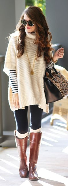 Knit Poncho Outfit