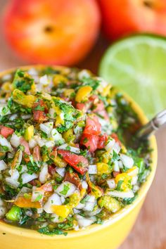 <3 Grilled peach salsa is perfect for summertime. Put it on top of burgers, eggs, or just as a dip with chips