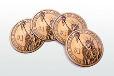 Statue of Liberty Magnetic round Coasters Including by elcomdesign
