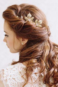 Maple Leaf Gold Bridal Hair Clips
