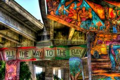 Some of the many murals in Chicano Park located in San Diego California under the Coronado Bay Bridge. Photo by Paul W. Koester.