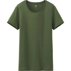 UNIQLO Women Supima Cotton Crew Neck Short Sleeve T-Shirt ($5.90) ❤ liked on Polyvore featuring tops, t-shirts, tees, olive, army green top, short sleeve t shirt, green top, green tee and crewneck t shirt