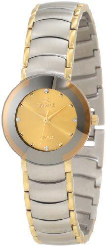 Swistar Women's 1006-11L Gd Gold Plated Two-Tone Quartz Dress Domed Crystal Watch -