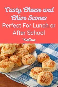 Are you looking for an alternative lunch box idea to sandwiches? Are your kids like mine – all starving when they come home from school? These Tasty Cheese and Chive Scones Are Perfect for Lunch or After School: Cheese And Chive Scones, Cheddar Cheese, Fruit Scones, Scones Ingredients, Pumpkin Scones, After School Snacks, Lunchbox Ideas, Tray Bakes, Sandwiches