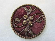 Antique Metal and Velvet Perfume Button