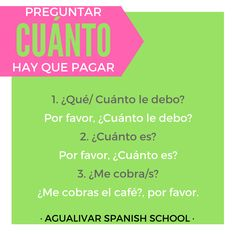 Preguntar cuánto hay que pagar. Spanish grammar. Spanish, School, Shopping, Learn Spanish, Tips, Clothing, Spanish Language, Spain
