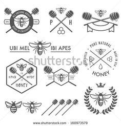 Set of vintage honey labels, badges and design elements