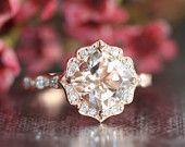 Vintage Floral Morganite Engagement Ring in 14k by LaMoreDesign