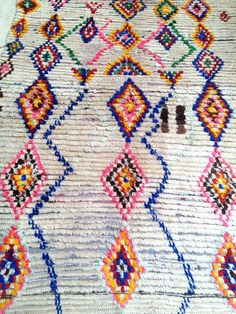 Vintage Moroccan rug  Boucherouite by BazaarLiving on Etsy, £215.00