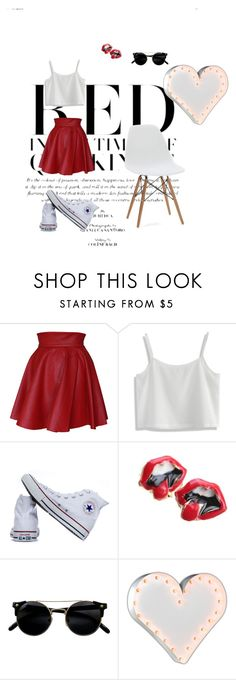 """WHITE T- SHIRT"" by ajla-skrebo ❤ liked on Polyvore featuring Funlayo Deri, Chicwish, Converse and Vintage Marquee Lights"