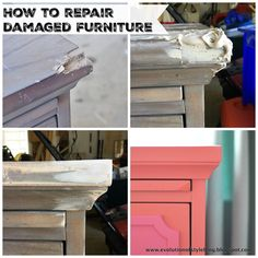 Now that I'm on the road to recovery from my last stint with the One Room Challenge, I thought I'd take a moment and share how I transformed my daughter's nightstand. The key takeaway here is that a beat up piece of furniture that cause others to Furniture Repair, Paint Furniture, Furniture Projects, Furniture Makeover, Furniture Design, Furniture Refinishing, Fixing Wood Furniture, Chair Makeover, Refurbished Furniture