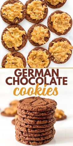German Chocolate Cookies - These German Chocolate Cookies are a rich chocolate cookie that is topped with a scoop of thick coconut pecan frosting. These cookies are like a German chocolate cake but in cookie form. #cookiedoughandovenmitt #cookies #coconut #dessertrecipes Sweets Recipes, Cupcake Recipes, Baking Recipes, Cookie Recipes, Chewy Peanut Butter Cookies, Peanut Butter Recipes, No Bake Cookies, German Chocolate Cookies, Chocolate Cake