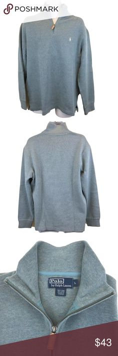 """Ralph Lauren 1/2 Zip Sweater Men's XL Blue Heather Men's Polo Ralph Lauren blue heather half zip pullover sweater with leather pull tab, stand up collar, vented sides.  Size XL 100% cotton Chest across the front underarm to underarm:  25"""" Shoulders across the back:  21"""" Length in back:  30"""" Excellent clean condition. Polo by Ralph Lauren Sweaters Zip Up"""