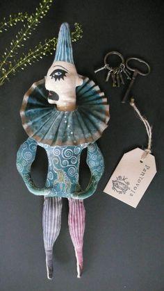 Bragi the sad clown fabric art doll soft sculpture by pantovola