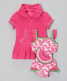 Take a look at this Pink Watermelon Splash One-Piece