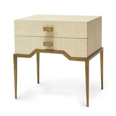Avery Side Table - Hand applied natural raffia side table on a brass coloured iron base