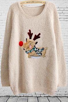 Women's Fashion Small Fresh Cartoon Christmas Deer Patch Knit Sweater