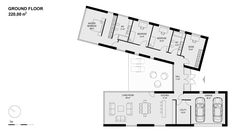 0400-modern-villa-sand Hall And Living Room, Living Room Kitchen, Open House Plans, House Floor Plans, Livng Room, Hill Country Homes, Villa, Shipping Container Homes, Modern House Design