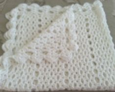 White crochet christening baptism baby blanket with fancy edge Pink Blanket, Baby Blanket Crochet, Crochet Afghans, Crochet Blankets, Newborn Gifts, Baby Gifts, Can Tab Crafts, Handmade Baby Items, Stained Glass Crafts