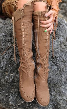 Khaki Beige Leather Knee High Boots