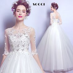 vestido de Noiva 2017 Fashion Wedding Dress Sequined crystal beading O-neck Half-sleeves Wedding Gown Robe de Mariage Brautkleid Diy Wedding Dress, Sexy Wedding Dresses, Wedding Dress Sleeves, Bridal Dresses, Gown Wedding, Lace Wedding, Half Sleeve Dresses, Half Sleeves, Short Sleeves