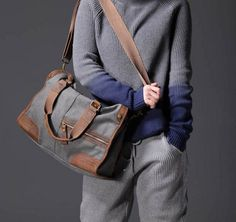 Dark Grey Genuine Leather and Cotton Canvas Bag Breifcase Tote | whitelily - Bags & Purses on ArtFire