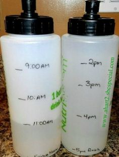 Need help remembering to drink water? Mark your water bottles. It's easy to follow and balances out your hydration.   Follow me on Facebook: www.facebook.com/angela.hart.skinnybodycare For motivational weight-loss support: JOIN US: www.facebook.com/groups/loveyourskinnybody For information about Skinny Fiber: www.ahart2.sbcspecial.com