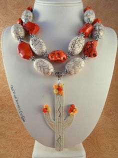 Western Cowgirl Statement Necklace Set Chunky Orange and