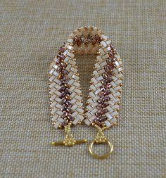 Beaded Herringbone Bracelet in Gold and Cream Half Tila Bead