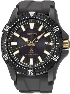 Seiko Men's SNE373P1 Solar Divers Black Watch - I love the look of this one.