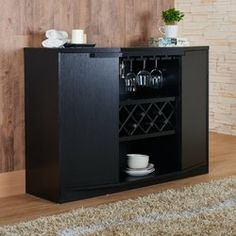 ... Modern Wine Cabinet, Showcasing Shelved Cabinets And Built In Wine And  Glass Racks. Its Sturdy Wooden Construction And Practical Design Make It A  Great ...