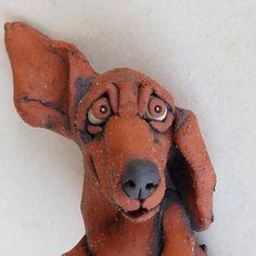 Dachshund Lying on Back Ceramic Sculpture by RudkinStudio on Etsy, $90.00