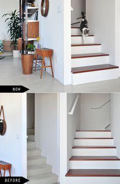 koa wood and white drywall stairs