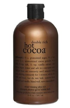 Philosophy Double Rich Hot Cocoa 3-in-1 Shampoo, Shower Gel  Bubble Bath - 24 oz by Philosophy. $39.99. Has the winter weather left you chilled to the bone? Before you turn up the heat, pour yourself a double rich hot cocoa bubble bath. philosophy's double rich hot cocoa shampoo, shower gel and bubble bath will allow you to close your eyes, lay your head back, and cozy up into a warm chocolaty dream. This is a self-indulgent, relaxing way to satisfy your chocola...