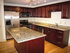 Cherry Cabinets With Granite Countertops | Cherry Cabinets With Santa Cecilia Countertop | Granite Worktops ...