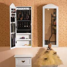 Songmics Armadio Armadietto Portagioie gioielli Da Parete con specchio 96cm JBC83W