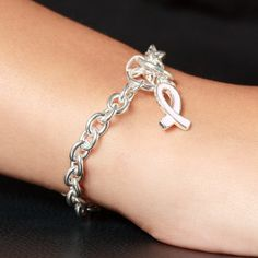 Laurie's Chain Link Breast Cancer Awareness Bracelet