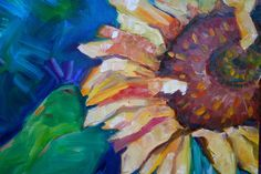 Oil Painting Flower  Sunflower Painting  by MaggiePainting on Etsy, $65.00