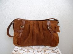 Hey, I found this really awesome Etsy listing at https://www.etsy.com/listing/244386045/honey-brown-suede-leather-shoulder-purse
