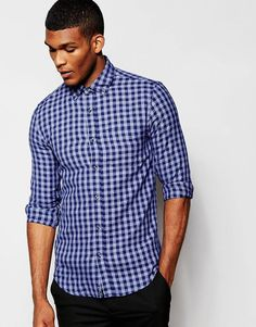 "Shirt by United Colors of Benetton Breathable cotton Fastened collar Button placket Chest pocket Regular fit - true to size Machine wash 100% Cotton Our model wears a size Medium and is 188cm/6'2"" tall"