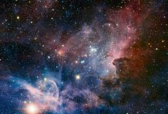 This panorama of the Carina Nebula, a region of massive star formation in the southern skies, was taken in infrared light using the HAWK-I camera on ESO's Very Large Telescope. Many previously hidden features, scattered across a spectacular celestial landscape of gas, dust and young stars, have emerged Photograph: T. Preibisch/ESO