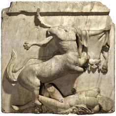 Parthenon sculpture: Centaur and Lapith The Acropolis, Athens, Greece, around 447-438 BC