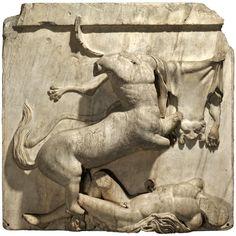 Parthenon sculpture: Centaur and Lapith The Acropolis, Athens, Greece, around 447-438 BC